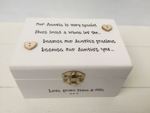 Shabby Auntie Box Aunty Aunt Chic gift Personalised Jewellery trinket any name.. - 232118740631